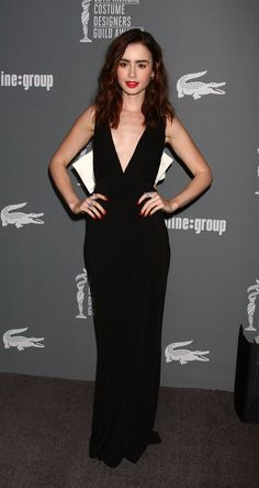 Lily Collins - Costume Designers Guild Awards. New Years inspiration! She is freakin flawless and I'm obsessed