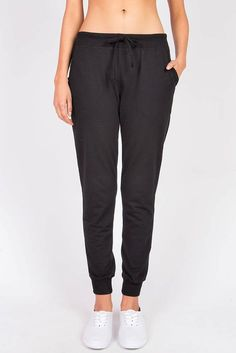 """Soft and comfy drawstring pants with pockets on the side. Perfect for any casual day and also works well for a day at the gym! *Machine Wash Cold *57% Cotton/38% Polyester/5% Spandex *40""""/118 cm Top t"""