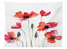 vipsung Watercolor Flower Decor Tablecloth Poppies Wildflowers Nature Painting Watercolor Effect Dining Room Kitchen Rectangular Table Cover