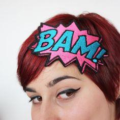 SALE  BAM Headband  Comic Cartoon  Pink & Turquoise by JanineBasil, £15.00