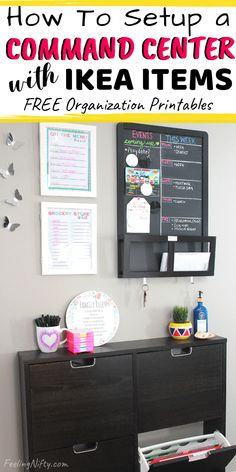 Learn how to setup a simple & small family command center in your home, made with affordable Ikea Items. You don't need much space to create a command center. It can be in any small space, corner, apartment, entryway, hallway, kitchen wall, drop zone / mudroom, or any other small area of you home. Learn about organization ideas & must haves like free organization printables, chalkboard ideas, storage hacks, and more. #commandCenter #commandCenterIdeas #MealPlanningPrintables #HomeOrganization...