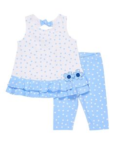 Florence Eiseman Polka-Dot Ruffle Top w/ Leggings, Size – Neiman Marcus – Join in the world of pin Baby Dress Design, Baby Girl Dress Patterns, Little Girl Dresses, Sewing Kids Clothes, Baby Sewing, Doll Clothes, Babies Clothes, Toddler Dress, Toddler Outfits