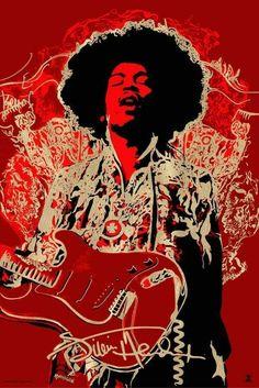 """Jimi Hendrix"" by Naja Conrad-Hansen Rock Posters, Band Posters, Concert Posters, Music Posters, Jimi Hendrix Poster, Pop Art, Jimi Hendrix Experience, Janis Joplin, Expo"