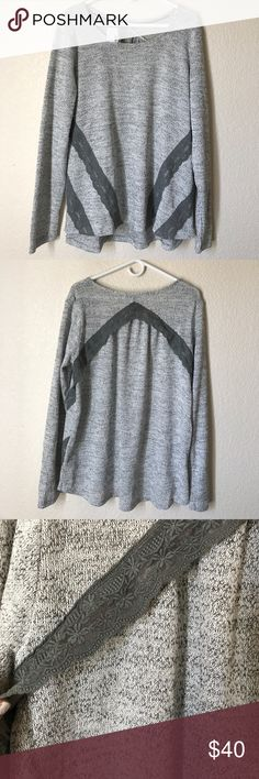 NWT sweater/sweatshirt Heathered grey with lace detail on front and back, loose feel lightweight sweatshirt feel, so soft and comfortable, 60% polyester, 39% rayon, 1% spandex. New with tags. Very cute lace detail on front and back as shown in images Maurices Tops Tees - Long Sleeve