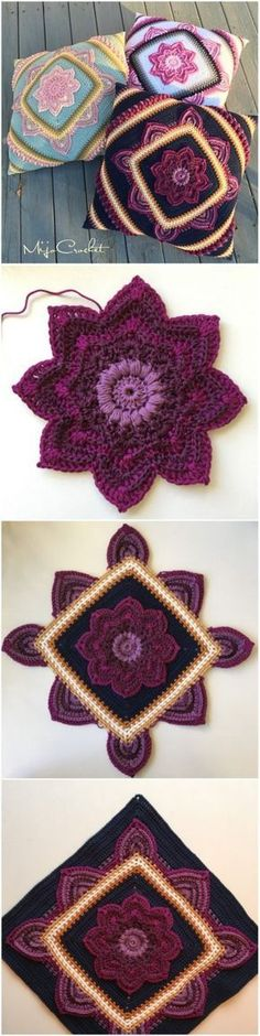 Crochet Blooming Flower Square – Free Pattern – Yarnandhooks See other ideas and pictures from the category menu…. Faneks healthy and active life ideas Crochet Pillow, Crochet Afghans, Crochet Granny, Crochet Motif, Crochet Flowers, Crochet Cushions, Blanket Crochet, Crochet Square Patterns, Crochet Squares