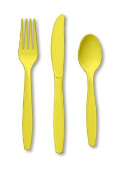 24 Yellow Combo Cutlery Set Forks Knives Spoons Solid Color Luau Birthday Party