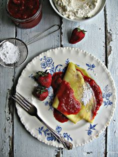 Strawberry, Rhubarb & Mascarpone Crepes.