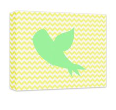 """Fly Away Birdie Canvas and Print Wall Art Wall art for kids in gallery wrapped canvas and prints. Baby Nursery, Kids Bedroom, Girl's Room, Boy's Room, Play Room, Children's Bathroom, Recreation Room, light green on pale yellow chevron. Available in .75"""" or 1.5"""" thick artist grade hand-stretched canvas or professional luster print, over 50 colors. FREE personalization."""