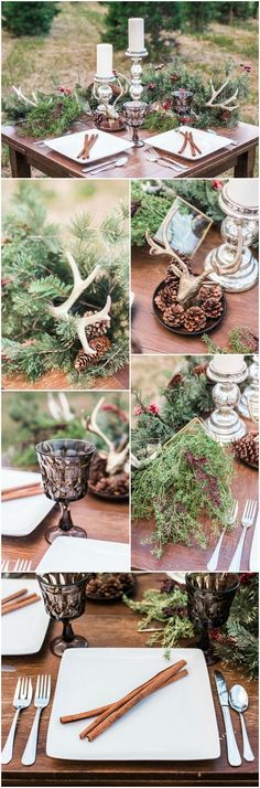 Winter wedding reception, Christmas-themed table design, pine cones, cinnamon sticks, white square plates, evergreen, white candles, silver candle holders, antlers // Project Life Photography