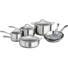 Better Homes and Gardens 10-Piece Tri-Ply Clad 18/10 Stainless-Steel Cookware Set