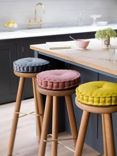 Brining colour into the kitchen with these beautiful ready made cushions by Look & Cushion, perched on top of classic Bar Stool One designs.