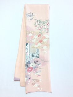 【Straight scarf Pink with Japanese Flower Design | #MegumiProject】I was about to buy this scarf, but I don't wear colors that match this very often.  #Recycled #BeautyFromBrokenness #Scarf #リサイクル #のぞみプロジェクト #東北
