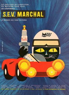 Cats in Illustration and Advertising: S.E.V. Marchal vintage ad (1972)