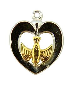 Sterling Silver Heart with Inlay Gold Tone Holy Spirit Dove Medal 34 Inch * Check out this great product.