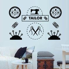 Wall Decal Vinyl Sticker Art Decor Design handiwork handicraft craft needle threads seamstress tailor machine Bedroom button sewing Painting Quotes, Sewing Studio, Sewing A Button, Wall Decal Sticker, Needle And Thread, Art Decor, Home Decor, Handicraft, Hand Painted