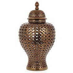 Porcelain Filigree Jar - Bronze