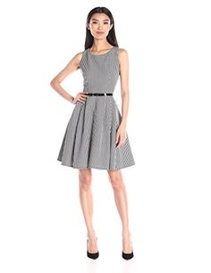 Gabby Skye Womens Gingham ALine Dress with Belt BlackWhite 14 *** See this great product. (This is an affiliate link and I receive a commission for the sales)