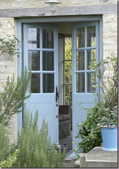 French blue, French doors, surrounded by beautiful lavender and lovely light, oh to dream x