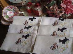 Beautiful Vintage 1930's Set 6 Irish Linen Napkins Embroidered Scotty Dogs & Pekes