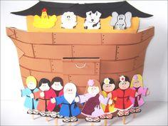 Arca de Noé   objetivo: doutrinário   Material revestido com papel paraná, contém 9 peças em EVA.