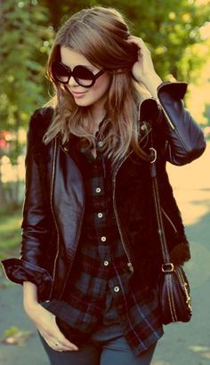 #burgundy #leather #jacket Though I'm not a fan of the glasses..