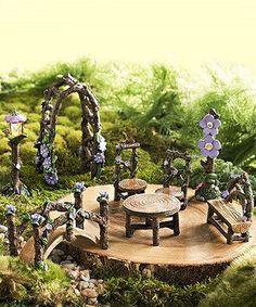 Miniature Fairy Garden Lavender Grove Eight-Piece Set - Alles über den Garten Indoor Fairy Gardens, Mini Fairy Garden, Fairy Garden Houses, Miniature Fairy Gardens, Fairy Gardening, Organic Gardening, Garden Crafts, Garden Projects, Mini Terrarium