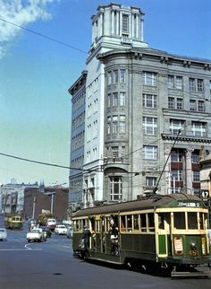"The Argus building, corner La Trobe and Elizabeth Streets, 1950s. Still there today, but unoccupied and in danger of ""demolition by neglect"". From Trams and Streetscapes, Metropolitan Melbourne 1950s-1960s"