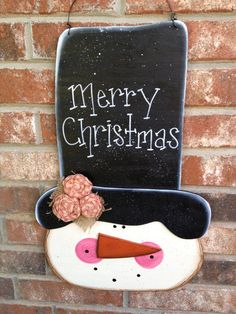 Large Wooden Snowman Door Hanger Merry Christmas Snowman Sign Christmas Wood Decor