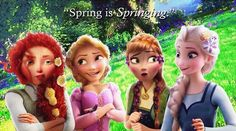 The four girls hanging out in spring. Merida doesn't approve.