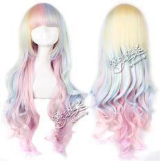 Long Lolita Cosplay Wig Pastel Rainbow Wavy Fantasy Bangs New Fairy Kei Gothic | eBay