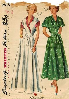 1940s Simplicity 2845 Vintage Sewing Pattern by midvalecottage More