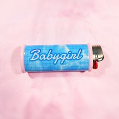 BLUE BABYGIRL Bic lighter case covered in blue clouds, gradient blue text! So cutee! ♥ Artwork designed myself. ♥ 100% handmade with love! ♥ Reusable, sealed, tough, waterproof & made of metal. note: lighter not included! ♥ FREE US SHIPPING or $5.50 INTERNATIONAL SHIPPING! ♥