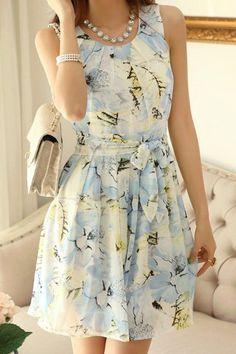 $11.48 Elegant Women's Scoop Neck Floral Print Sleeveless Chiffon Dress