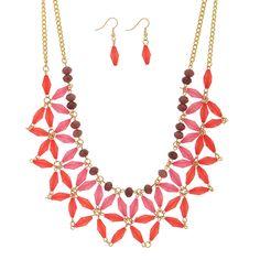 Wholesale fuchsia flower motif bead gold linked double layer necklace purple bea