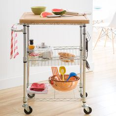 Trinity EcoStorage Chrome Bamboo Top Kitchen Cart | Overstock.com Shopping - The Best Deals on Kitchen Carts