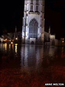 St Botolph's Church, Boston after the tidal surge floods December 2013, UK