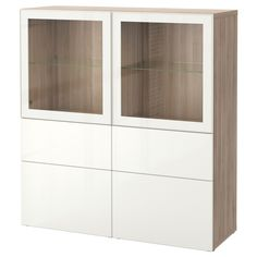 IKEA - BESTÅ Storage combination w/glass doors walnut effect light