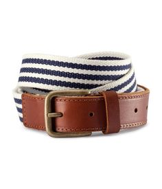 Woven belt with leather detail in blue and white stripe