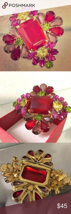 PARTY SALE! Juliana-style glass rhinestone brooch Vintage Juliana-style glass brooch with bright red, pink, rhinestone. Unsigned; excellent vintage condition. Vintage Jewelry Brooches