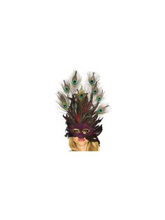 Peacock Feather Mask - Venetian Accessories at Wholesale Prices