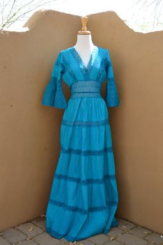 LOVE. // VTG blue MEXICAN wedding MAXI dress size M by faintofheartvintage, $60.00