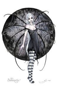 Amy Brown Spinnerette Web Wings Print Goth Fairy Dark