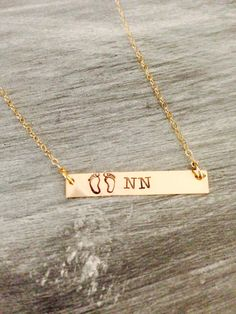 Hand stamped with gold filled bar necklace.