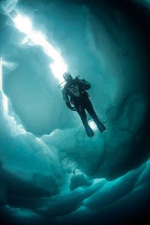Ice Diving - underwater AND the possibility of the surface freezing before your return??? What are they thinking????