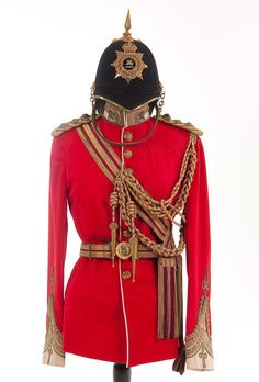 """Victorian Military Uniforms A British Victorian to Edwardian Era Colonel's uniform of the East Kent Regiment dubbed """"The Buffs"""". British Army Uniform, British Uniforms, British Soldier, Victorian Era, Victorian Fashion, Edwardian Era, Military Dresses, Military Uniforms, Steampunk Costume"""