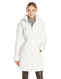 Jessica Simpson Women's Mid Length Diamond Quilted Down Coat, Ivory, Large - http://womenswintercoats.hzhtlawyer.com/jessica-simpson-womens-mid-length-diamond-quilted-down-coat-ivory-large/