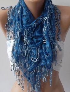 Blue Lace and Elegance Shawl / Scarf  with Lace Edge by womann, $19.90