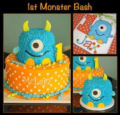 Monster Bash, cakes to match birthday boy's shirt. look it says Jax ! Florenzino by valarie Little Monster Birthday, Monster 1st Birthdays, Monster Birthday Parties, Birthday Party Themes, First Birthdays, Birthday Ideas, Birthday Boy Shirts, Baby First Birthday, Baby Birthday