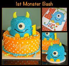Monster Bash, cakes to match birthday boy's shirt. look it says Jax ! Florenzino by valarie Little Monster Birthday, Monster 1st Birthdays, Monster Birthday Parties, Birthday Party Themes, First Birthdays, Birthday Ideas, Birthday Boy Shirts, Baby First Birthday, Baby Birthday