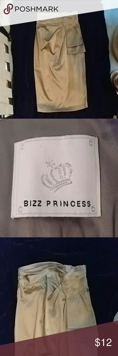 Biz Princess skirt Cotton/Spandex taupe satin pencil skirt Biz Princess  Skirts Midi